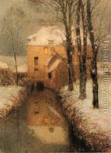 The Canal, Snow by Henri Eugene Augustin Le Sidaner - Reproduction Oil Painting