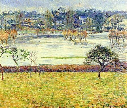 Flood, White Effect, Eragny by Camille Pissarro - Reproduction Oil Painting