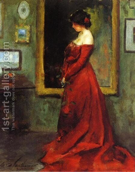 The Red Gown by Charles Hawthorne - Reproduction Oil Painting