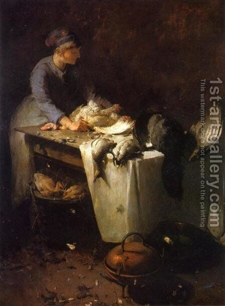 A Young Girl Preparing Poultry by Emil Carlsen - Reproduction Oil Painting