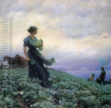 The Cabbage Field by Charles Curran - Reproduction Oil Painting