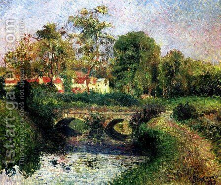 Little Bridge on the Voisne, Osny by Camille Pissarro - Reproduction Oil Painting