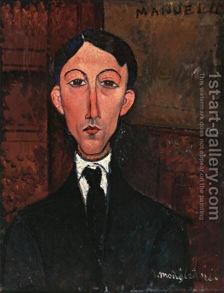 Bust of Manuel Humbert by Amedeo Modigliani - Reproduction Oil Painting
