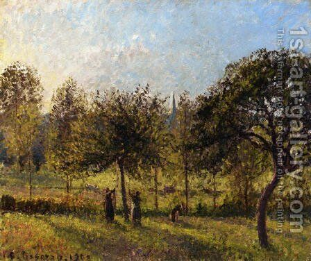 Setting Sun, Autumn in Eragny by Camille Pissarro - Reproduction Oil Painting