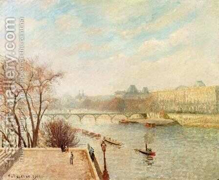 The Louvre, Winter Sunlight, Morning, 2nd Version by Camille Pissarro - Reproduction Oil Painting