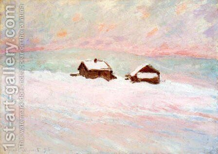 Houses in the Snow, Norway by Claude Oscar Monet - Reproduction Oil Painting