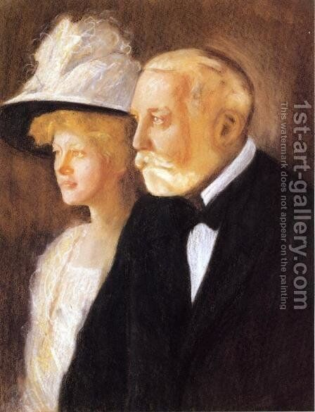 Study for Portrait of Henry Clay Frick and His Daughter, Helen by Edmund Charles Tarbell - Reproduction Oil Painting