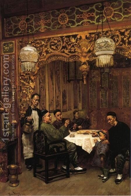 Chinese Restaurant by Theodore Wores - Reproduction Oil Painting