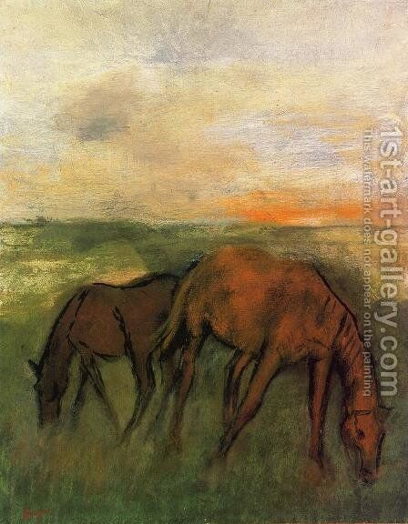 Two Horses in a Pasture by Edgar Degas - Reproduction Oil Painting