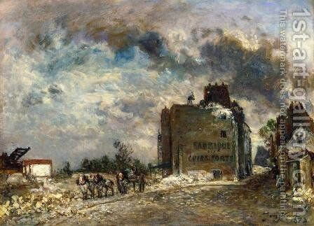 Demolition of the Rue des Franes-Bourgeois by Johan Barthold Jongkind - Reproduction Oil Painting