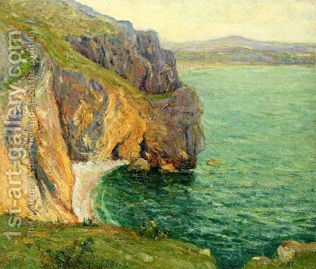 The Cliffs at Polhor, Morgat by Maxime Maufra - Reproduction Oil Painting