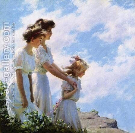 On the Cliff by Charles Curran - Reproduction Oil Painting