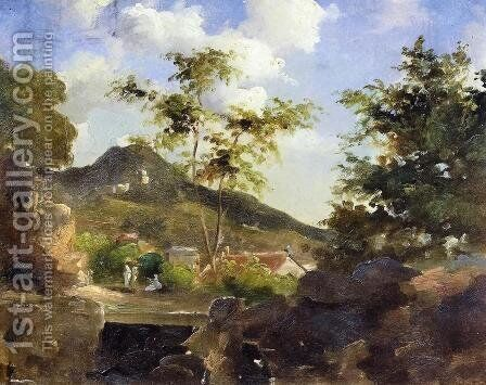 Village at the Foot of a Hill in Saint Thomas, Antilles by Camille Pissarro - Reproduction Oil Painting