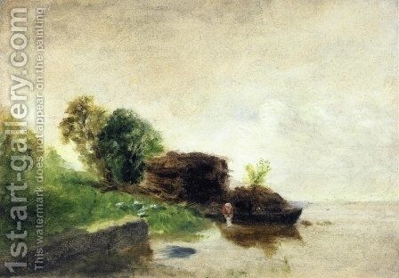 Laundress on the Banks of the River by Camille Pissarro - Reproduction Oil Painting