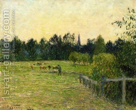 Cowherd in a Field at Eragny by Camille Pissarro - Reproduction Oil Painting