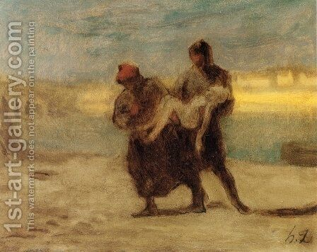 The Rescue by Honoré Daumier - Reproduction Oil Painting
