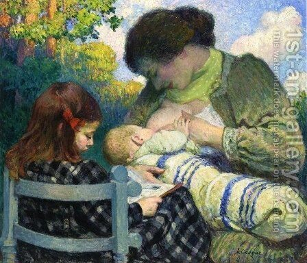 Motherhood, Madame Lebasque and Her Children by Henri Lebasque - Reproduction Oil Painting