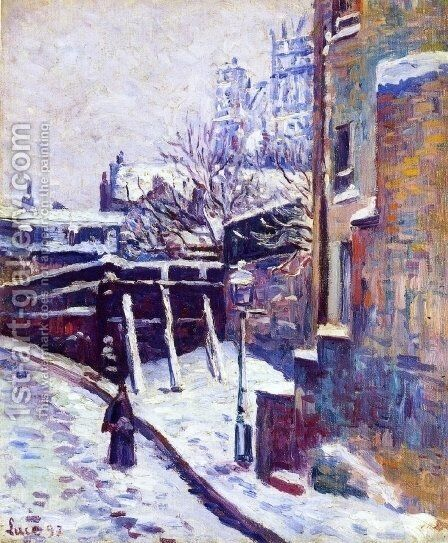 Montmartre, Snow Covered Street by Maximilien Luce - Reproduction Oil Painting