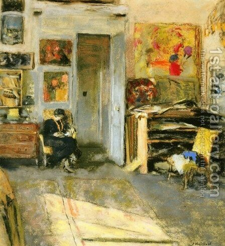 Madame Josse Hessel in Vuillard's Studio by Edouard  (Jean-Edouard) Vuillard - Reproduction Oil Painting