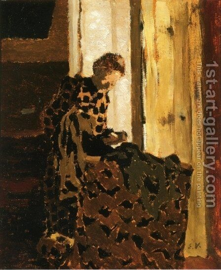 Woman Brushing a Garment by Edouard  (Jean-Edouard) Vuillard - Reproduction Oil Painting