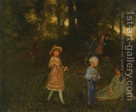 Children Playing by Arthur Bowen Davies - Reproduction Oil Painting