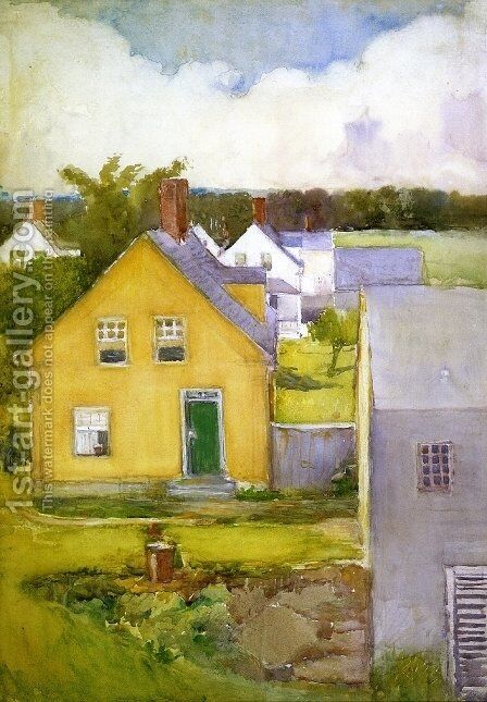 The Yellow House by Annie Gooding Sykes - Reproduction Oil Painting