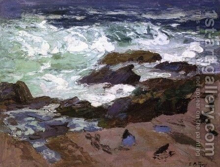 Wild Surf, Ogunquit, Maine by Edward Henry Potthast - Reproduction Oil Painting