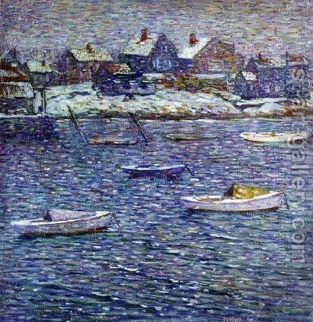 Boats in Winter, Rockport, Massachusetts by Charles Salis Kaelin - Reproduction Oil Painting
