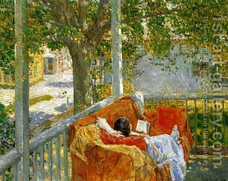 Couch on the Porch, Cos Cob by Frederick Childe Hassam - Reproduction Oil Painting