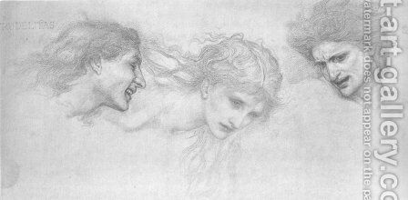 Head Study for 'The Masque of Cupid' by Sir Edward Coley Burne-Jones - Reproduction Oil Painting