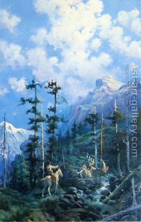 On Lolo Trail by Edgar Samuel Paxson - Reproduction Oil Painting