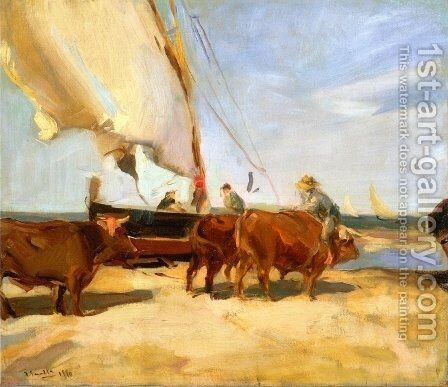 On the Beach at Valencia by Joaquin Sorolla y Bastida - Reproduction Oil Painting