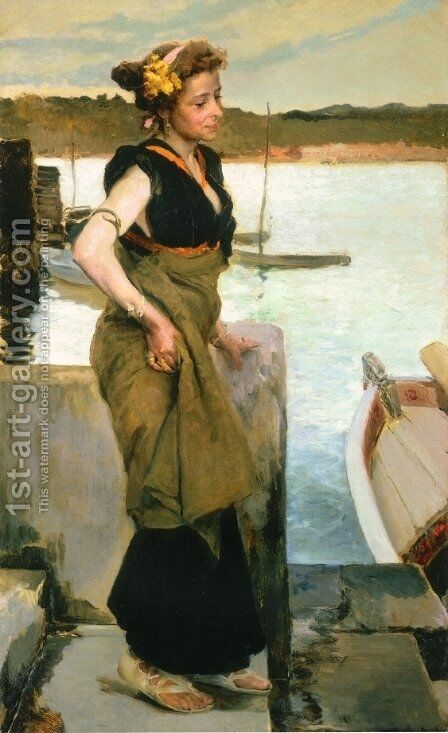 Waiting by Joaquin Sorolla y Bastida - Reproduction Oil Painting