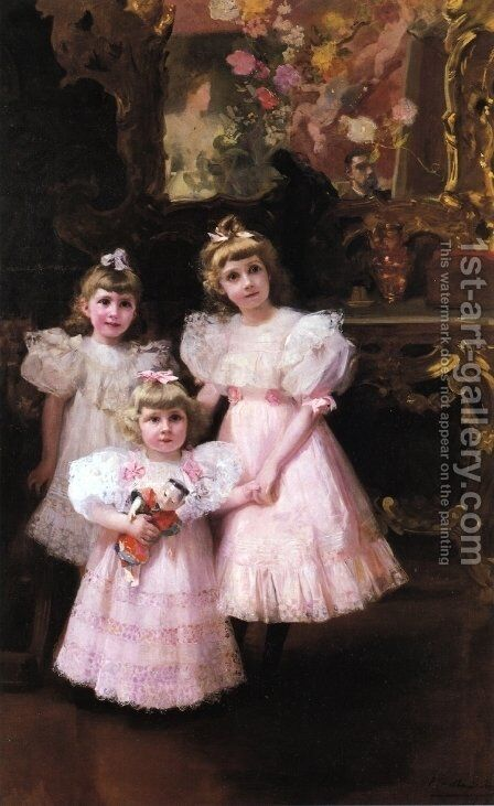 The Three Errazuriz Sisters by Joaquin Sorolla y Bastida - Reproduction Oil Painting