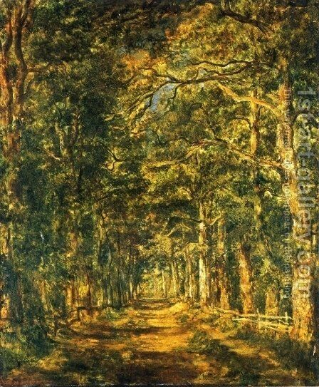 Path amog the Trees at Souliers by Marie Guillaume Charles Leroux - Reproduction Oil Painting