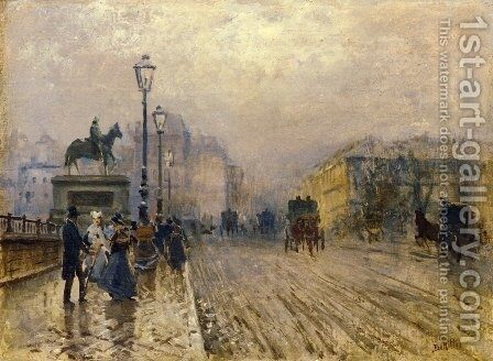 Rue de Paris with Carriages by Giuseppe de Nittis - Reproduction Oil Painting