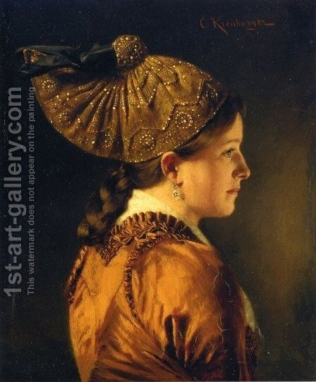 A Portrait of a Girl Wearing a Golden Hood by Carl Kronberger - Reproduction Oil Painting
