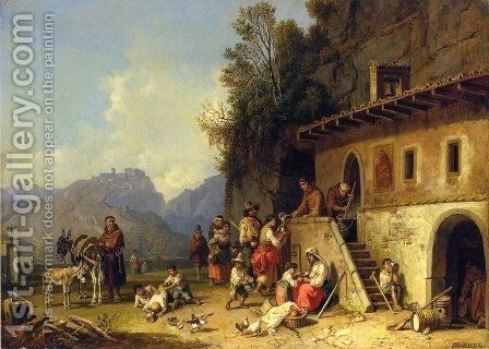 The Monastary Soup Kitchen by Heinrich Bürkel - Reproduction Oil Painting
