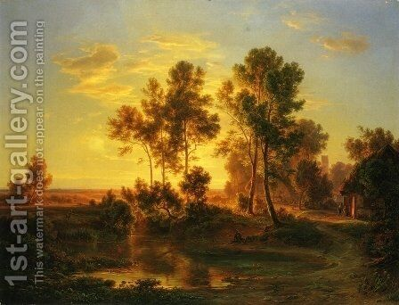A Landscape at Dusk by Christian Morgenstern - Reproduction Oil Painting