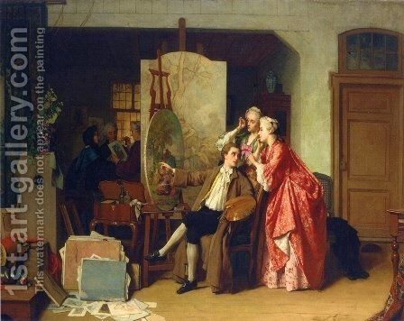 A Visit to Watteau's Studiio by Jean Carolus - Reproduction Oil Painting