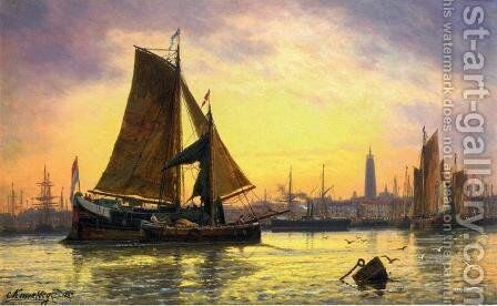 Barges Docking at a Harbour, Antwerp by Charles Euphraisie Kuwasseg - Reproduction Oil Painting