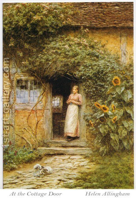 At the Cottage Door by Helen Mary Elizabeth Allingham, R.W.S. - Reproduction Oil Painting