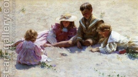 Children by the Seashore by Charles Curran - Reproduction Oil Painting