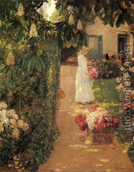 Gathering Flowers in a French Garden by Frederick Childe Hassam - Reproduction Oil Painting