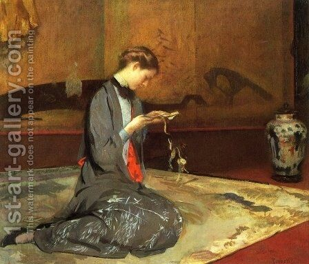 Cutting Origami by Edmund Charles Tarbell - Reproduction Oil Painting