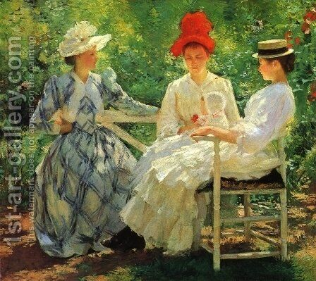 In a Garden by Edmund Charles Tarbell - Reproduction Oil Painting