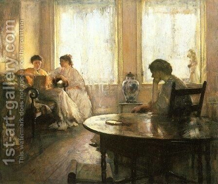 Three Girls Reading by Edmund Charles Tarbell - Reproduction Oil Painting