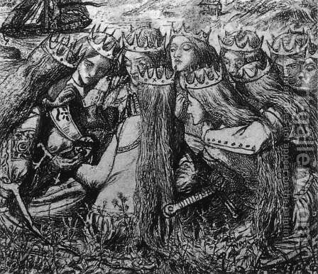 King Arthur and the Weeping Queens by Dante Gabriel Rossetti - Reproduction Oil Painting
