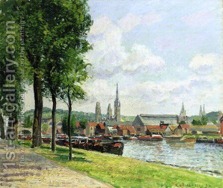 The Cours-la-Riene, The Notre-Dame Cathedral, Rouen by Camille Pissarro - Reproduction Oil Painting