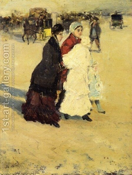 The Nannys by Giuseppe de Nittis - Reproduction Oil Painting
